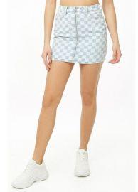 Blue Checkered Print Mini Skirt by Forever 21 at Forever 21