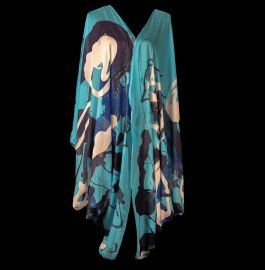 Blue Graffiti Kimono by Cedric Brown Collection at Cedric Brown