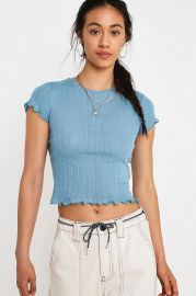 Blue Heart Pointelle T-Shirt by Urban Outfitters at Urban Outfitters