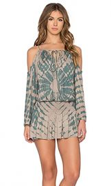 Blue Life Shirred Waist Open Shoulder Dress in Tahitian Sands from Revolve com at Revolve
