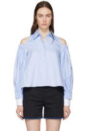 Blue Open Shoulder Palm Shirt by Fendi at SSense