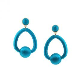 Blue Oval Ball Earrings by Jennifer Miller at Jennifer Miller