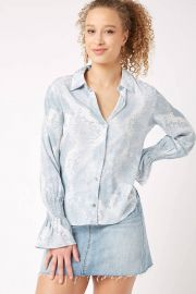 Blue Snake Print Smocked Sleeve Blouse at South Moon Under