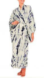Blue and Ivory Tie-dye Rayon Robe at Amazon