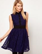 Blue and black lace shirt dress from ASOS at Asos