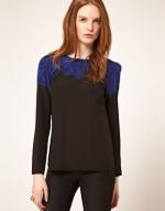 Blue and black lace top at Asos