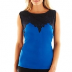 Blue and black lace top at JC Penney at JC Penney