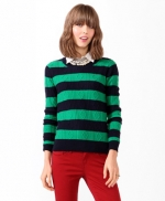 Blue and green striped sweater at Forever 21
