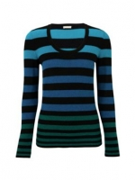 Blue and green striped top  at House of Fraser