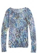 Blue and pink animal print longsleeve top like Pennys at Delias