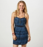 Blue aztec print bustier dress at American Eagle