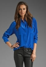 Blue blouse by Equipment at Revolve