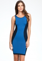 Blue bodycon dress with side panels at Bebe at Bebe