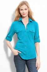 Blue button front shirt at Nordstrom