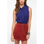 Blue button front shirt at Urban Outfitters at Urban Outfitters