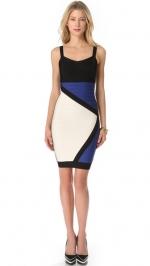 Blue colorblock dress by Herve Leger at Shopbop