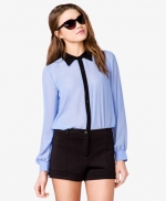 Blue contrast collar shirt at Forever 21 at Forever 21