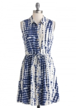 Blue dress with similar pattern at Modcloth