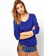 Blue elbow patch sweater at ASOS at Asos