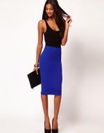 Blue high waisted skirt at Asos
