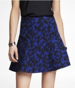 Blue jacquard skirt at Express