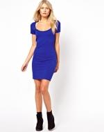 Blue jersey short sleeve dress at Asos