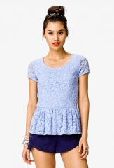 Blue lace peplum top at Forever 21