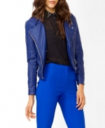 Blue leather style biker jacket like Arias at Forever 21