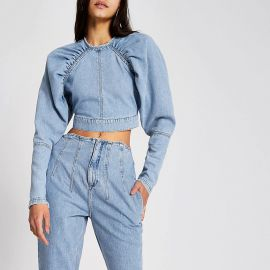 Blue long puff sleeve denim cropped top at River Island