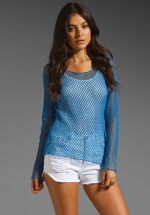 Blue netted top at Revolve