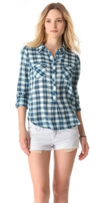 Blue plaid henley shirt at Shopbop
