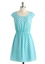 Blue polka dot dress at Modcloth