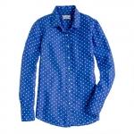 Blue polka dot shirt at Jcrew at J. Crew