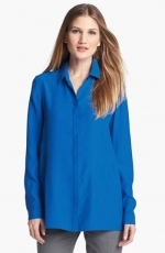Blue silk blouse by Lafayette 148 at Nordstrom