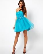 Blue strapless prom dress at ASOS at Asos