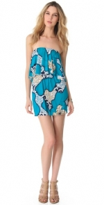Blue strapless ruffle dress by Tbags Los Angeles at Shopbop
