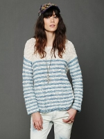 Blue stripe knit pullover from Free People at Free People
