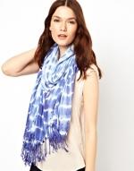 Blue tie dye scarf at ASOS at Asos