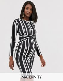 Blume Maternity exclusive twist front stretch midi dress in black and white stripe   ASOS at Asos