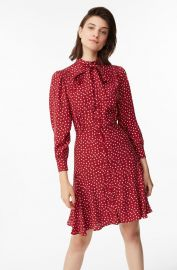 Blurry Heart Silk Tie Neck Dress at Rebecca Taylor
