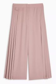 Blush Pleated Crop Wide Leg Pants at Topshop