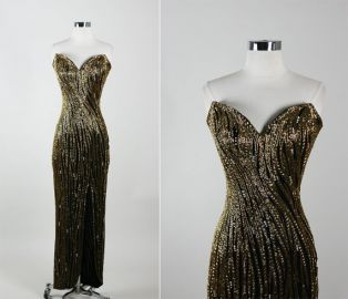 Bob Mackie Vintage Stunning Strapless Beaded Hourglass Cocktail Party Silk Dress  at Etsy