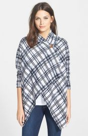 Bobeau Plaid One-Button Fleece Cardigan in Plaid at Nordstrom