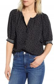Bobeau Valerie Dotted Puff Sleeve Blouse   Nordstrom at Nordstrom