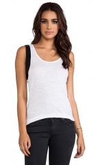 Bobi linen and leather top at Revolve