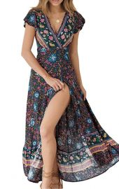 Bohemian Floral Wrap Dress by Zesica at Amazon