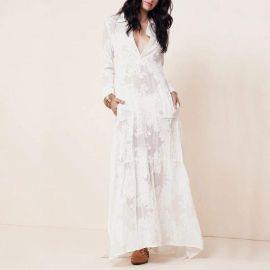 Boho Side Slit Lace Maxi Dress at Sonja
