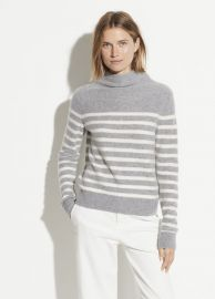 Boiled Cashmere Breton Stripe Turtleneck at Vince