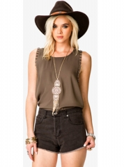 Bolt Studded Chiffon Top at Forever 21