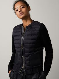 Bomber Down Jacket with Leather Detail at Massimo Dutti